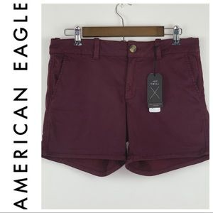 NWT American Eagle MaroonTwill Shorts Size 10